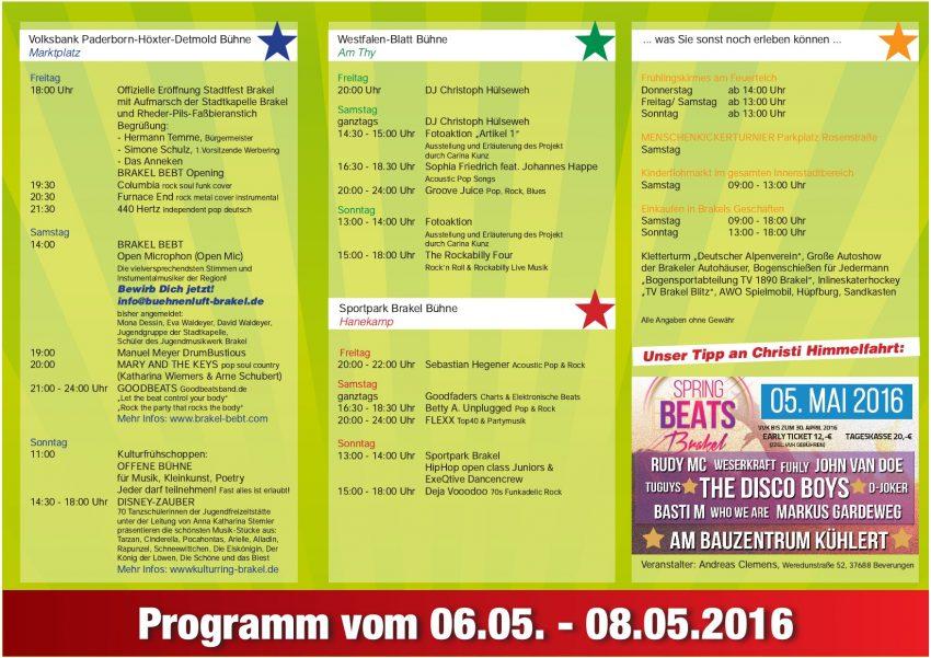 Stadtfest Brakel 2016 - Flyer vorne-002
